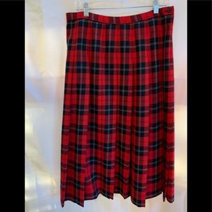 Red Plaid Pendleton Skirt